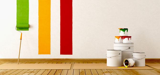 Bauendreinigung Farbeimer, Wandfarbe, Farbrolle